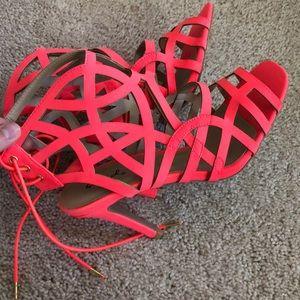 Neon coral lattice heels